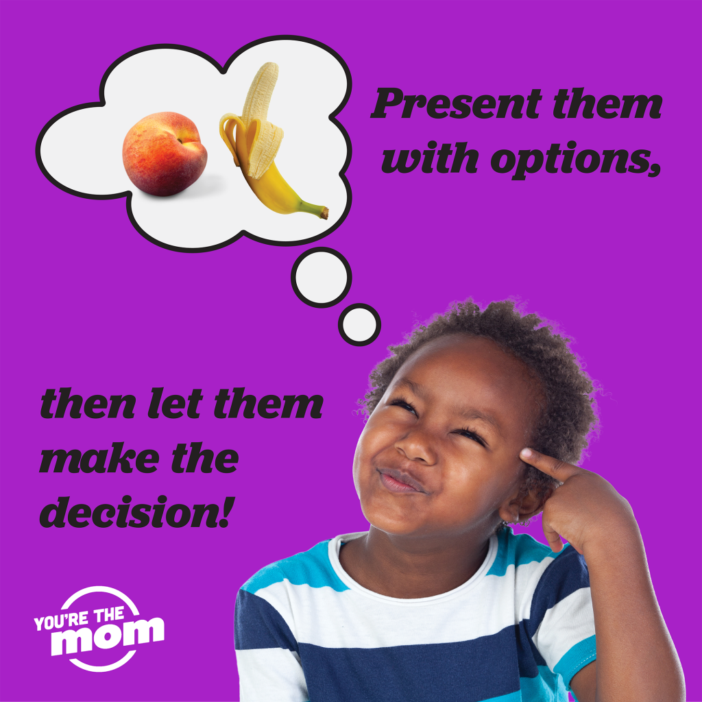 "A kid is thinking, with text on the image says ""present them with oprtions, then let them make the decision."" The image will link you to the blog post ""3 ways to raise a healthy eater."""