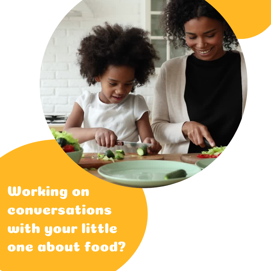 "Text on the image says ""working on conversations with your little ones about food?"" The image will link you to the blog post ""how to talk to your kid about food."""